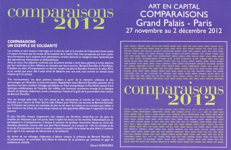 ART EN CAPITAL COMPARAISONS 2012